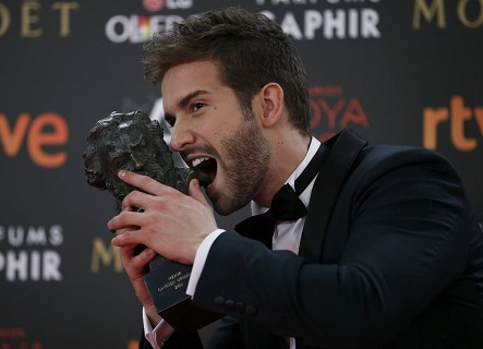 Musician Alboran, who won the Best Original Song, poses with his trophy during the Spanish Film Academy's Goya Awards ceremony in Madrid
