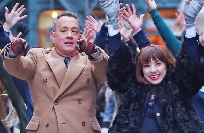 Tom Hanks and Carly Rae Jepsen film a Fiat commercial in SoHo, NYC